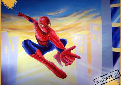 namalowany spiderman - obraz ścienny w pokoju
