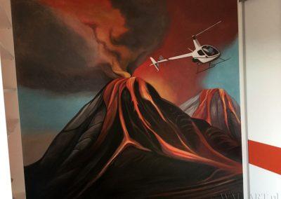 malowidło ścienne w pokoju - namalowany wulkan