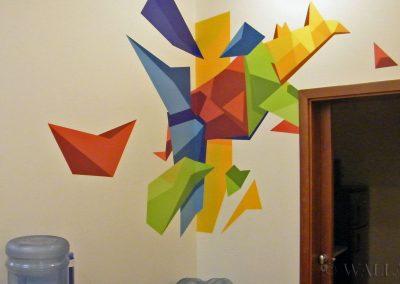 malowidło ścienne origami w lokalu