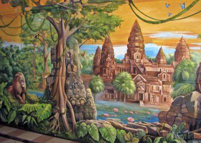 malowidło na ścianie - ruiny Angkor Wat