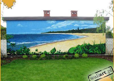 prywatny mural w ogrodzie - plaża i morze