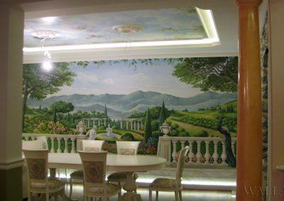 malowidło ścienne w pokoju - mural w salonie - krajobraz toskański