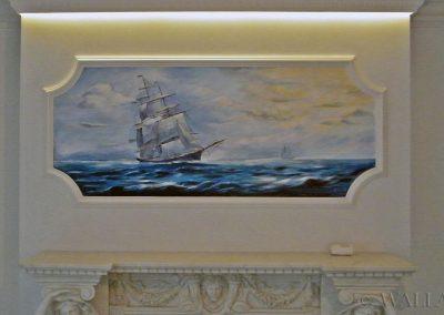 malowidło ścienne - statek na kominku