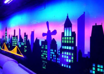 malowidła ścienne - budynki - farby fluorescencyjne UV
