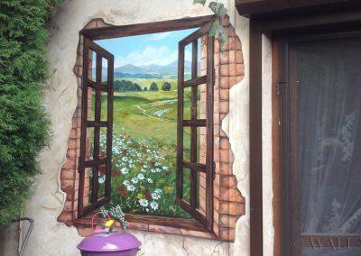 malowidło ścienne na tarasie - namalowane okno
