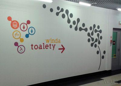 pomalowane ściany - oznakowanie do toalet - namalowane grafiki