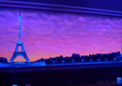 malowidło ścienne fluorescencyjne UV - Paryż - Wieża Eiffla