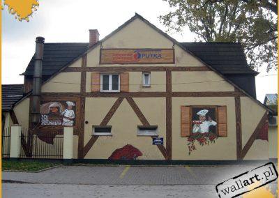 malowidło ścienne na elewacji - mural na piekarni Putka, Warszawa
