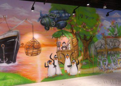 malowidło ścienne - pingwiny z Madagaskaru