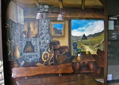 malowidło ścienne - karczma i widok na góry