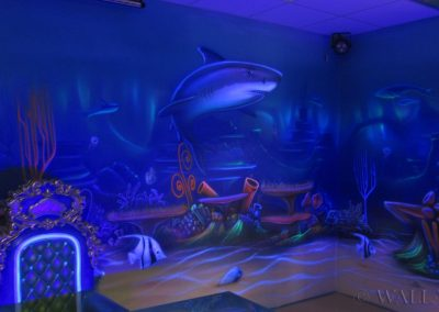 podwodny pokój urodzinowy  - malowanie fluorescencyjne UV - malowidła ścienne