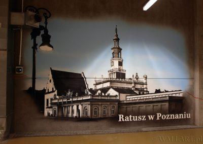 wykonane malowidło - Ratusz Poznań - obraz namalowany aerografem na ścianie