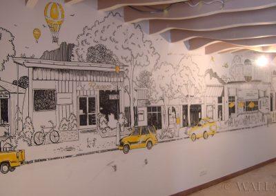 pomalowana ściana - mural w restauracji Gessler