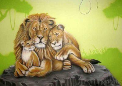 malowidło ścienne w sali zabaw - rodzina lwów