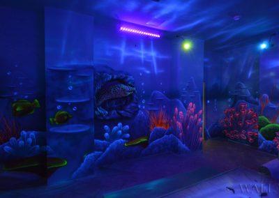 podwodny pokój urodzinowy - malowidła ścienne - malowanie farbami UV