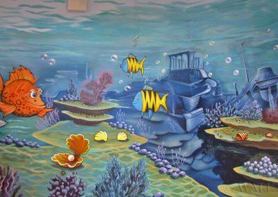malowidła ścienne - ryby, rafa i wrak