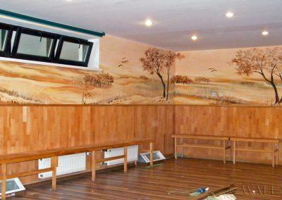 wykonane malowidło ścienne - sala sportowa