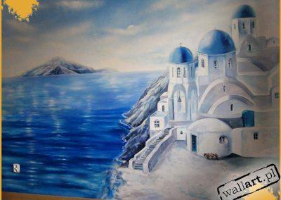 mural w pokoju - malowidło Santorini