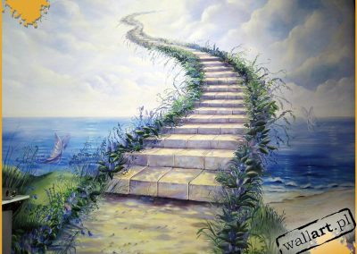 namalowane schody do nieba - obraz ścienny w pokoju