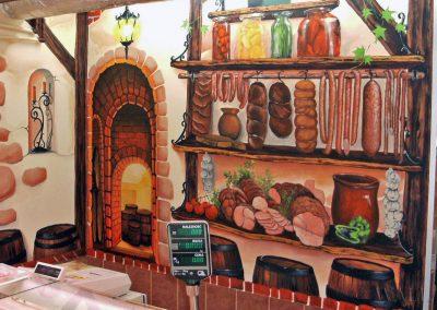 malowidło na ścianie - sklep mięsny