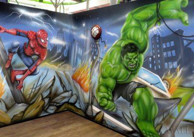 malowidła ścienne - sala urodzinowa - Spiderman i Hulk