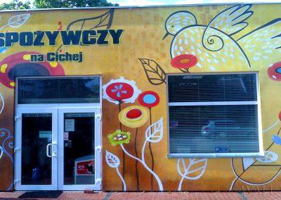 malowidło graffiti na ścianie - sklep spożywczy Warszawa