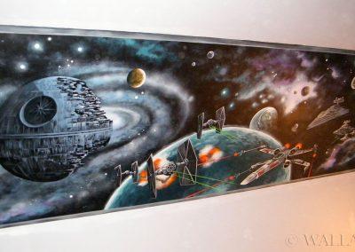 namalowany obraz na ścianie - Star Wars i Gwiazda Śmierci