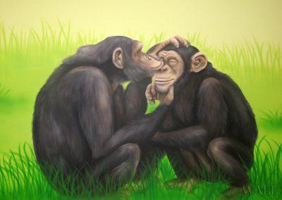 malowidło ścienne w sali zabaw - szympansy