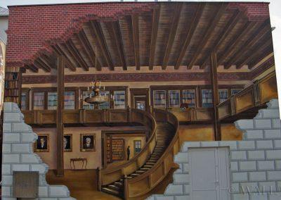 mural - Biblioteka w Ustroniu - prawa ściana