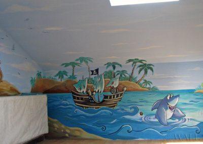 malowidło ścienne - wyspa piratów