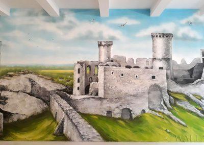 mural - zamek Ogrodzieniec - malowidło ścienne w lokalu
