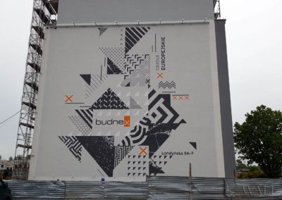 mural na budynku - osiedle Europejskie firmy Budnex w Gorzowie