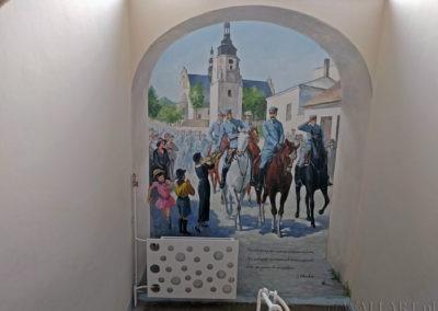 obraz przedstawiający wjazd Józefa Piłsudskiego do Kielc