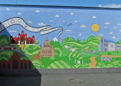 wykonany mural przedstawiający Łódź