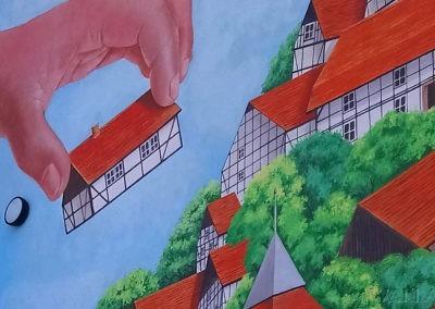 mural z domkami - powiększenie