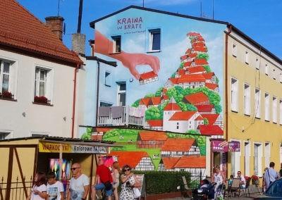 wykonany mural - domki