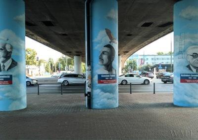 murale na słupach pod wiaduktem honorujące polskich lotników
