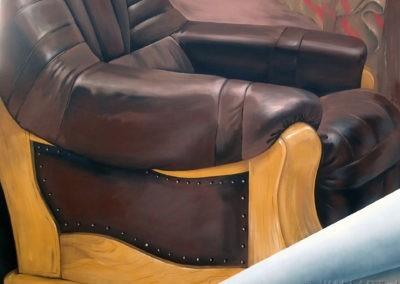 fragment murala - namalowany fotel