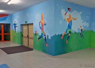 pomalowane ściany - MOSiR Mokotów - łącznik szkoły i basenu